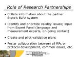 role of research partnerships