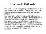lisa leoni s rationale
