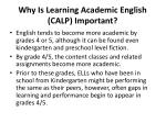why is learning academic english calp important