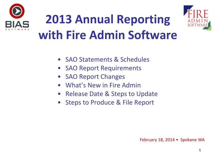 2013 annual reporting with fire admin software n.
