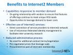 benefits to internet2 members