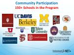 community participation 150 schools in the program