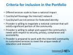 criteria for inclusion in the portfolio
