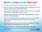 what s a campus to do start now