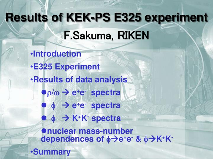 results of kek ps e325 experiment n.