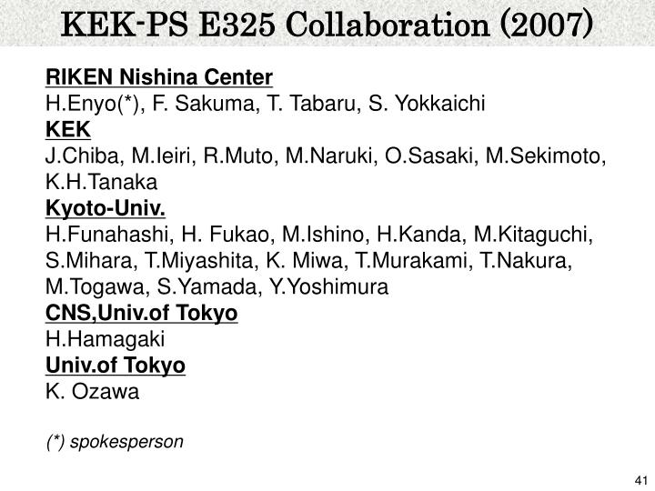 KEK-PS E325 Collaboration (2007)