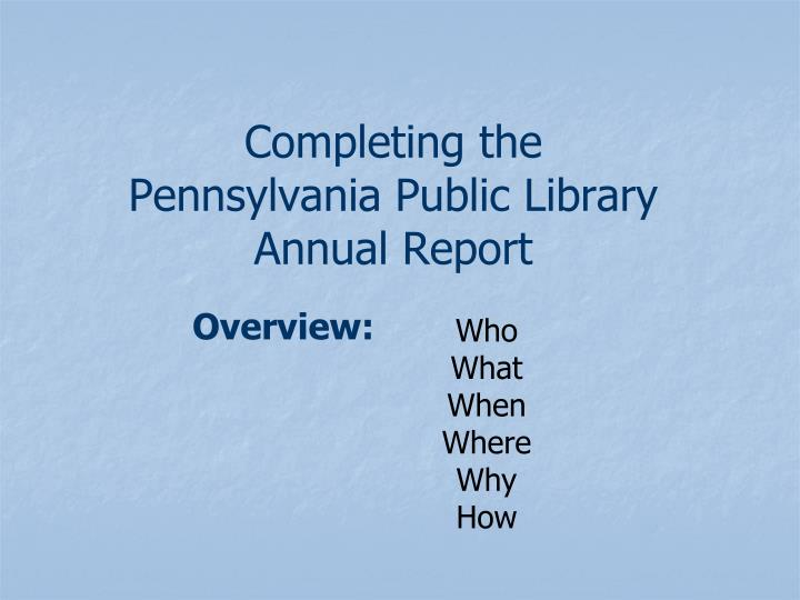 completing the pennsylvania public library annual report n.