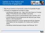 update on first nation and community engagement