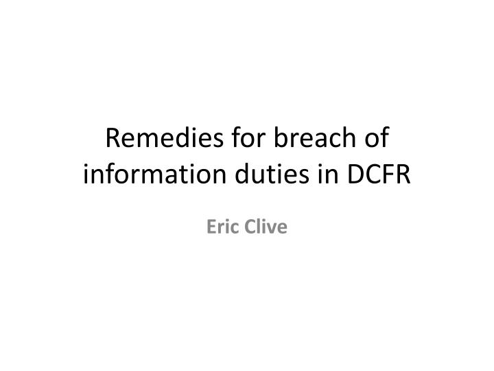 remedies for breach of information duties in dcfr n.