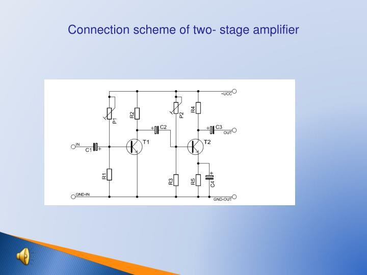 Connection scheme of two- stage amplifier