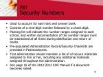 pbt security numbers