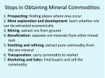 steps in obtaining mineral commodities