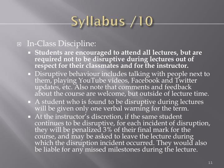 Syllabus /10