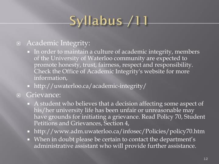 Syllabus /11