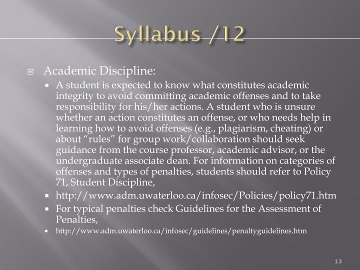 Syllabus /12