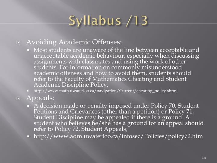 Syllabus /13
