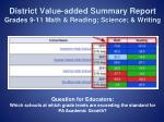 district value added summary report grades 9 11 math reading science writing
