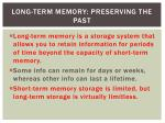 long term memory preserving the past