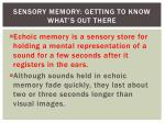 sensory memory getting to know what s out there3
