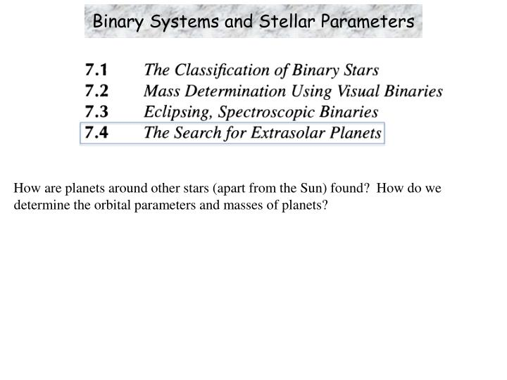 binary systems and stellar parameters n.