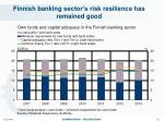 finnish banking sector s risk resilience has remained good