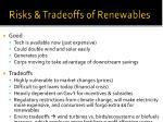 risks tradeoffs of renewables