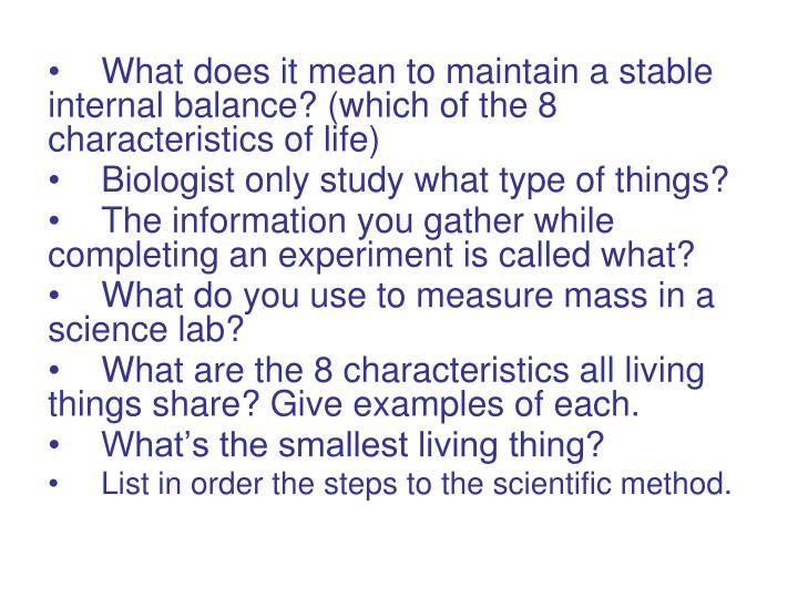 8 characteristics of life examples