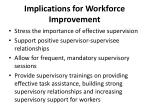 implications for workforce improvement