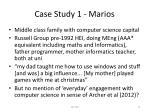 case study 1 marios