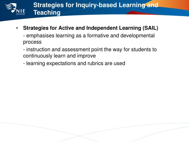 Strategies for Inquiry-based Learning and Teaching