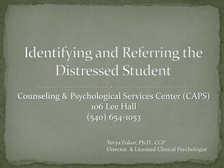 identifying and referring the distressed student n.