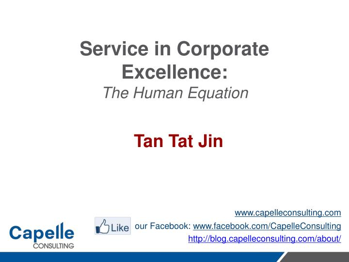 service in corporate excellence the human equation n.