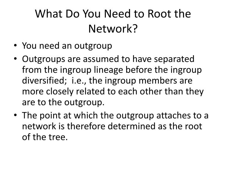 What Do You Need to Root the Network?