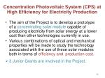 concentration photovoltaic system cps at high efficiency for electricity production