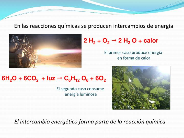 En las reacciones químicas se producen intercambios de energía