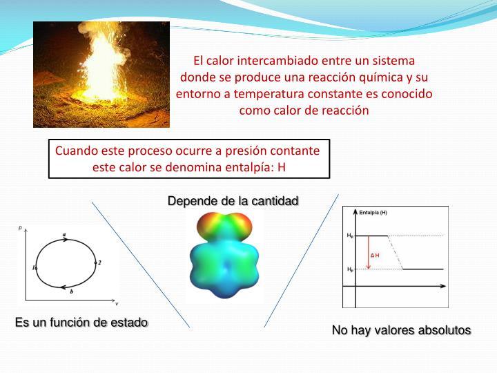 El calor intercambiado entre un sistema donde se produce una reacción química y su entorno a temperatura constante es conocido como calor de reacción