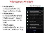 notifications window