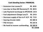 cash bleeding sector financail