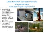 1995 renewed interest in ground magnetometers small type fluxgate magnetometers
