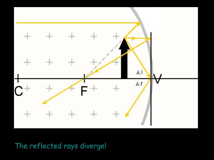 The reflected rays diverge!