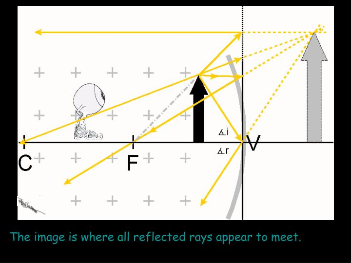 The image is where all reflected rays appear to meet.