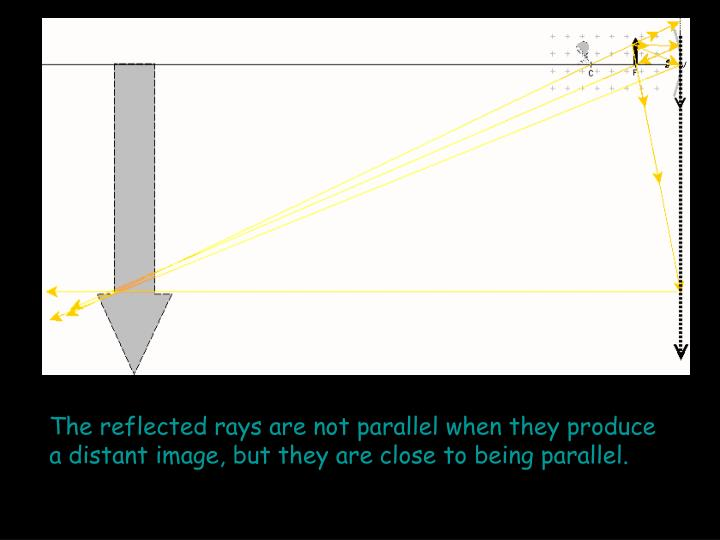 The reflected rays are not parallel when they produce a distant image, but they are close to being parallel.