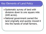 key elements of land policy