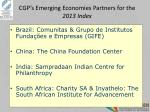 cgp s emerging economies partners for the 2013 index