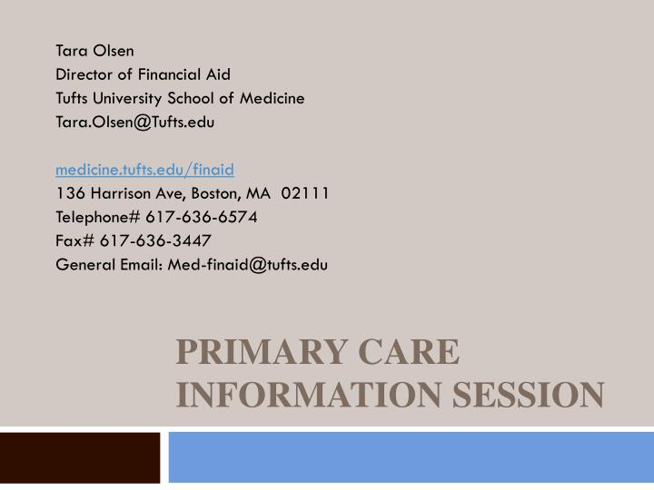 primary care information session n.