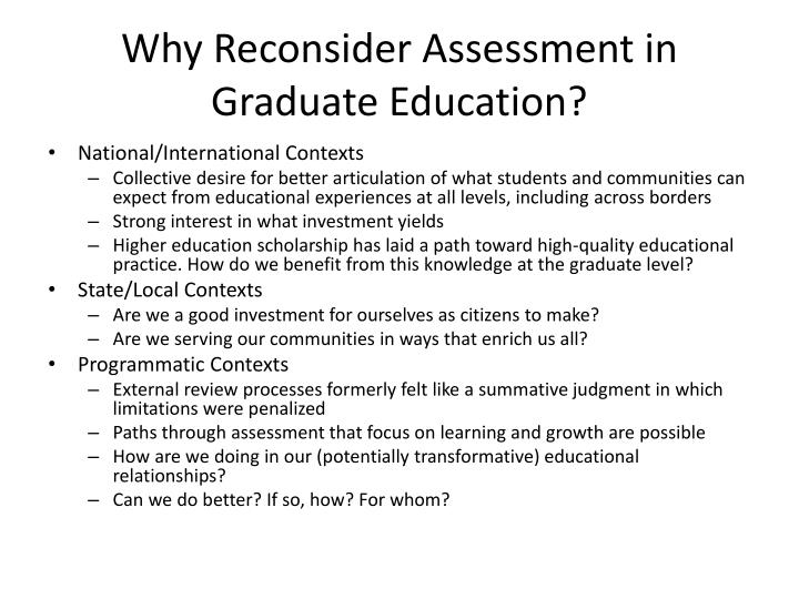 why reconsider assessment in graduate education n.