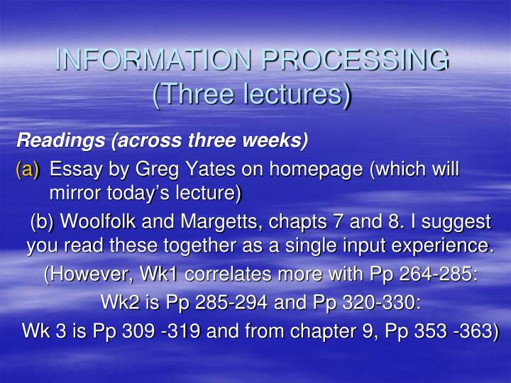information processing three lectures n.