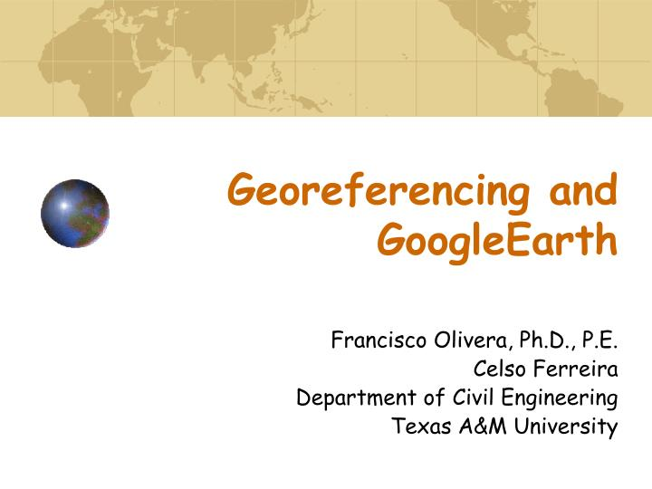 georeferencing and googleearth n.