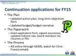 continuation applications for fy15