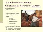 cultural variation putting universals and differences together1
